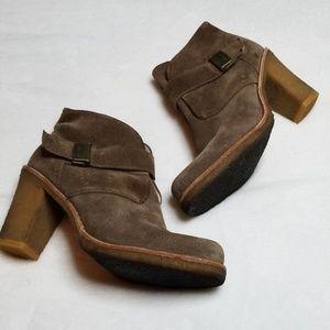 UGG | Tan Suede Heel Booties with Buckle